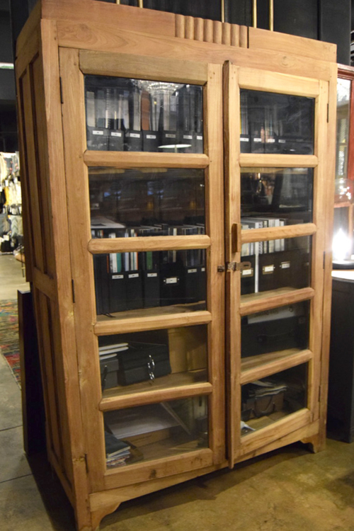 WOODEN CABINET - GLASS FITTED